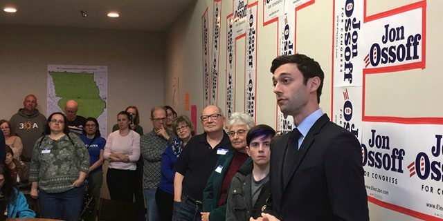 FILE: March 11, 2017: Jon Ossoff, the Democratic candidate in this year's Georgia special House election, at his Cobb County campaign office. (AP)