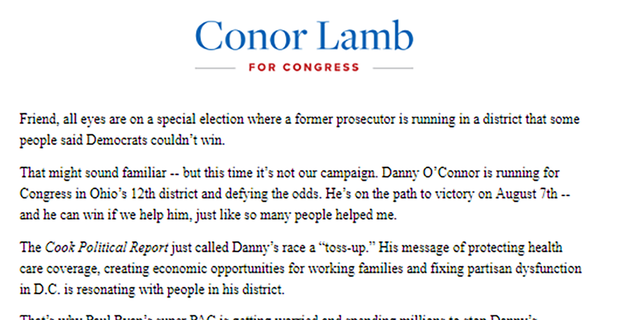 """U.S. House Rep. Connor Lamb, D-PA., issued a fundraising email earlier this month calling the Ohio Democrat a """"former prosecutor."""""""