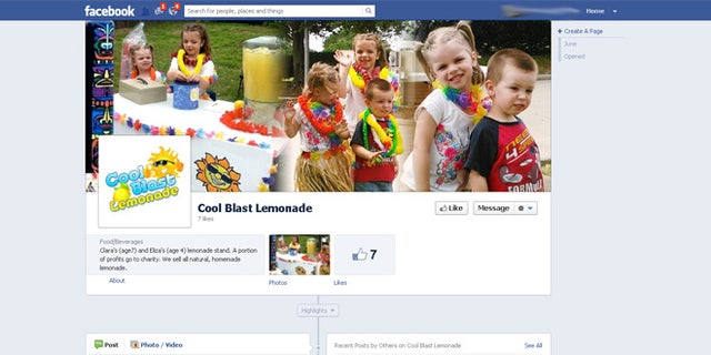 """The Sutton family of Cypress, Texas went so far as to create an advertising plan for their """"Cool Blast Lemonade"""" stand with a website and  this Facebook page. In the center photo, Clara is flanked by sister Eliza and brother Eirik."""