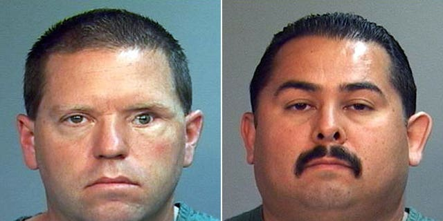 This combo made from file photos provided by the Orange County District Attorney's office shows Fullerton Police Officers Jay Cicinelli, left, and Manuel Ramos.