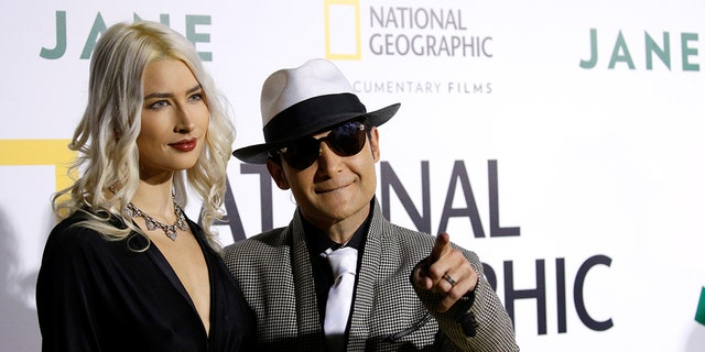 "Actor Corey Feldman and his wife Courtney Anne Mitchell pose at the premiere for the documentary ""Jane"" in Los Angeles, California, U.S., October 9, 2017."