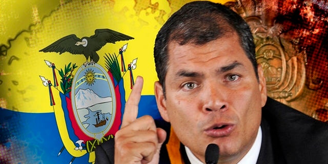 Ecuador's President Rafael Correa speaks to the press at the government palace in Quito, Ecuador, late Thursday Sept. 30, 2010.  The army rescued Correa from a hospital where he had been trapped by rebellious police for more than 12 hours while he was being treated for tear-gas fired by hundreds of police angry over a law that they claim would cut their benefits. (AP Photo/Patricio Realpe)