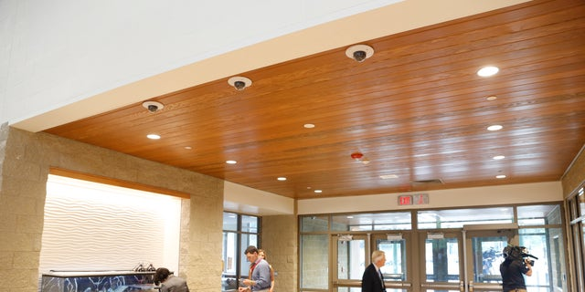 Three surveillance cameras are part of the security in place in the lobby of the new Sandy Hook Elementary School.
