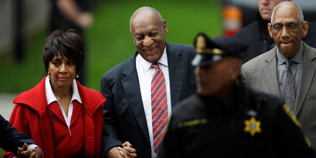 "Bill Cosby arrives with actress Sheila Frazier, left, and Frazier's husband John Atchison, a celebrity hairstylist, for his sexual assault trial at the Montgomery County Courthouse in Norristown, Pa., Wednesday, June 7, 2017. Cosby and Frazier were on screen together in the 1978 comedy ""California Suite."" Atchison's client roster includes Cosby and his wife, Camille."