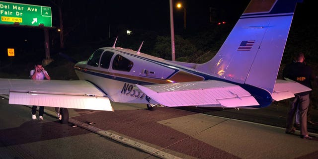 The flight touched down shortly before 8 p.m., according to the California Highway Patrol. No injuries were reported.
