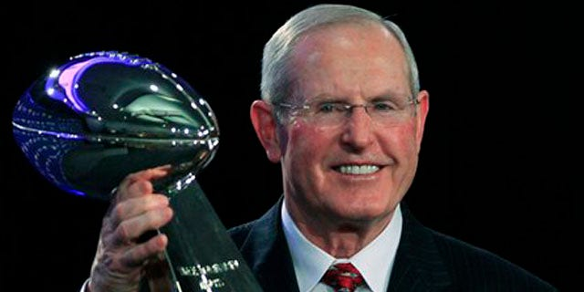 Feb. 6, 2012: New York Giants head coach Tom Coughlin hold up the Vince Lombardi Trophy during a news conference after NFL Super Bowl XLVI in Indianapolis.