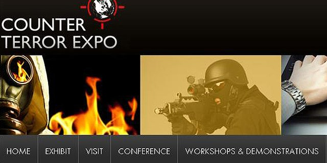 A screenshot of the webiste for the 2012 Counter Terror Expo -- held April 25 and 26 in London -- where the latest security products were on display.