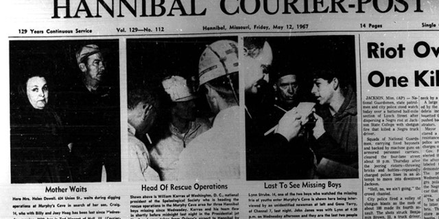 The front page cover of the Hannibal Courier-Post on May 12, 1967.
