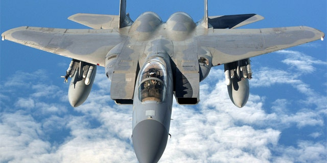 September 12, 2013: An F-15C Eagle prepares to refuel with a KC-135R Stratotanker, en route to the Arctic Challenge Exercise in Norway.