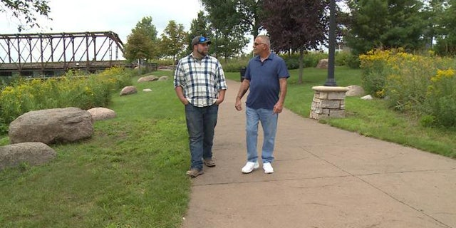 Nathan Boos (left) and Bob Degaro (right) recently discovered they were not just friends at work, but father and son.