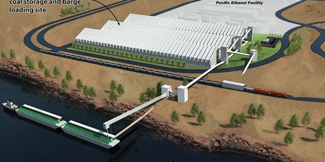 Rendering of the Coyote Island Terminal coal storage and barge loading site, courtesy of MorrowPacific / Port of Morrow.