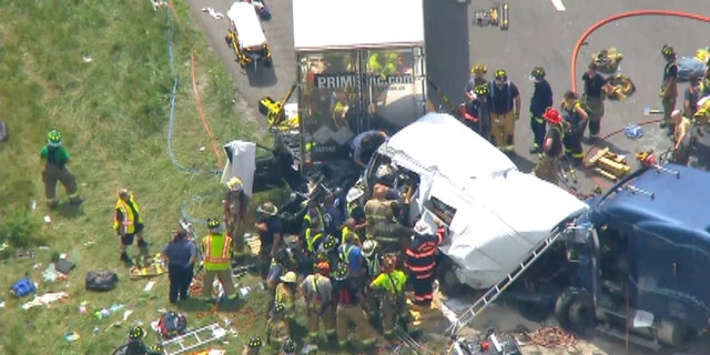 The crash involved at least five cars and at least one tractor-trailer.