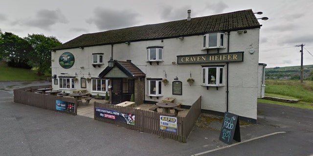 """The landlord of the Craven Heifer, in Darwen, Lancashire, says the staff was """"a little bit scared"""" when they saw the car driving toward the building."""
