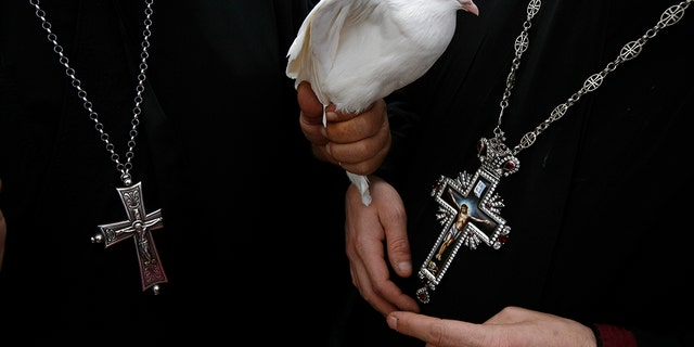 A Greek Orthodox priest holds a dove before a ceremony at the baptismal site known as Qasr el-Yahud on the banks of the Jordan River near the West Bank city of Jericho January 18, 2011