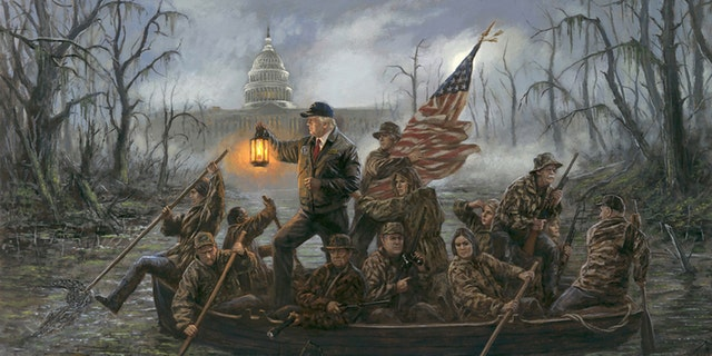 "Jon McNaughton's ""Crossing the Swamp"" is a riff on the classic ""Washington Crossing the Delaware,"" but replacing George Washington's crew with members of President Trump's administration."