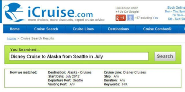 iCruise.com launches Cruise Finder Plus Free-Text Search Box which allows users to search for cruises in naturally spoken phrases.  (PRNewsFoto/WMPH Vacations)