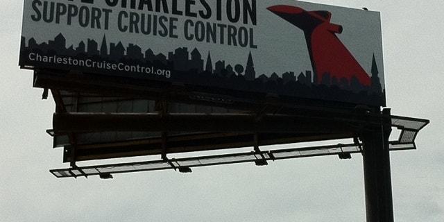 Billboard ad opposing cruise port improvements near historic district in Charleston, S.C.