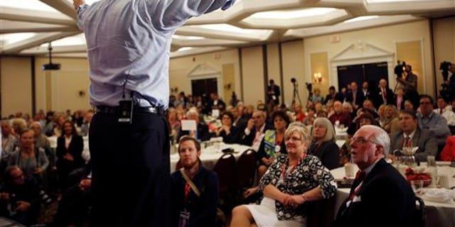 Republican presidential hopeful U.S. Sen.Ted Cruz, R-Texas, speaks at the Republican Leadership Summit Saturday, April 18, 2015, in Nashua, N.H. (AP Photo/Jim Cole)