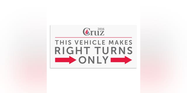 "The Texas senator takes a tongue-in-cheek swipe at his right-wing credentials with a bumper sticker that says ""This vehicle makes right turns only"" ($10)."
