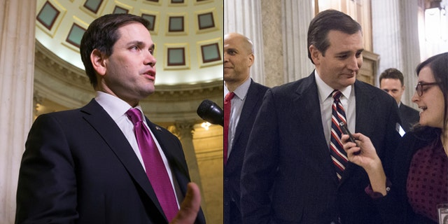 Feb. 10, 2016: Sens. Marco Rubio, left, and Ted Cruz take a break from the campaign trail -- to vote on Capitol Hill. (AP)