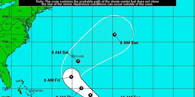 Projected path of Tropical Storm Lisa.