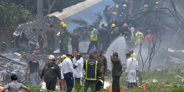 A plane crashed after taking off from Jose Marti International Airport in Havana on Friday, May 18, 2018.