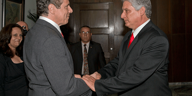 New York Gov. Andrew Cuomo, left, and Cuban Vice President Miguel Diaz-Canel, during the governor's 2015 trade mission visit to Cuba.