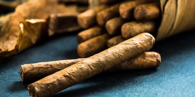Cuban cigars in traditional artisan palm leafs box