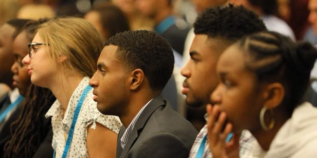 CUFI on Campus students listen to Israel Defense Forces soldiers speak during the 13th CUFI Summit in Washington, D.C.