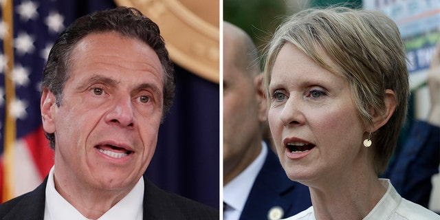 New York Gov. Andrew Cuomo and former primary opponent Cynthia Nixon. (Associated Press)