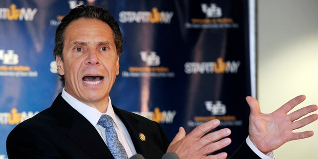 July 28, 2014: Gov. Andrew Cuomo responds to a question during a press conference at the University of Buffalo.