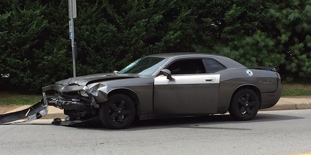 This image shows the car that slammed into the protesters Saturday afternoon.