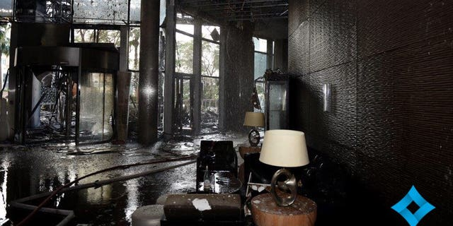 The Address Downtown hotel lobby following the fire.