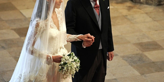 Kate Middleton and her father, Michael Middleton, on her wedding day, April 30, 2011.