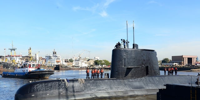 The Argentine military submarine ARA San Juan and crew are seen leaving the port of Buenos Aires, Argentina June 2, 2014.