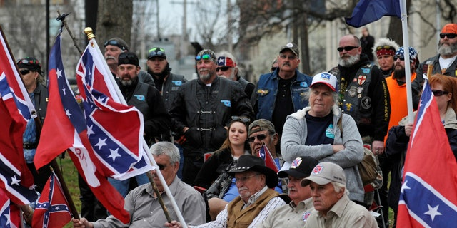 FILE: Confederate flag supporters attend a rally held by Sons of Confederate Veterans in Shawnee, Oklahoma
