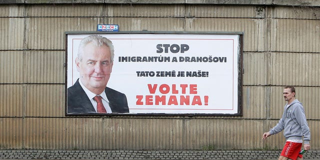 """Pro-Zeman election posters warned voters to """"stop migrants and Drahos."""""""