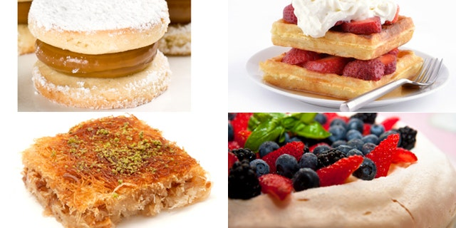 [clockwise, from left] Alfajores (Argentina), Belgian waffles (Belgium), pavlova (Australia), kanafeh (Israel)