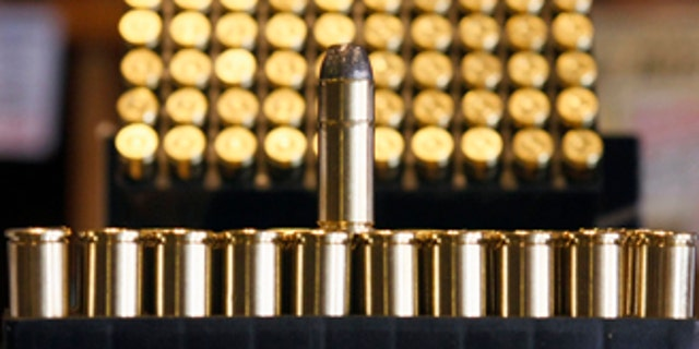 .38 caliber ammunition is seen at Jim Newbauer's gun shop in Tombstone, Arizona May 14, 2008. Newbauer has raised the price of a box of the rounds from seven dollars to $17 in two years due to the increase he has had to pay. Millions of shooters, hunters and even lawmen across the United States feeling the pinch as sky-high metals prices and demand from wars abroad are driving up the price of bullets.  To match feature METALS-USA/AMMO      REUTERS/Jeff Topping (UNITED STATES)