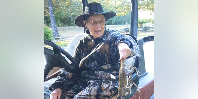 Vickers likes to take her golf cart out and hunt squirrels near the woods of her home.