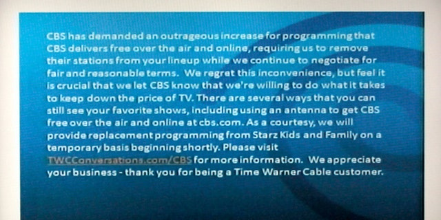 Aug 2, 2013: A television screen shows the CBS channel with an announcement by Time Warner Cable in Los Angeles.