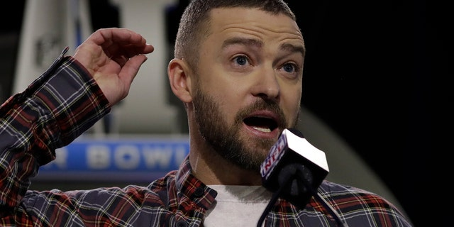 Justin Timberlake answers questions during a news conference for the NFL Super Bowl 52 football game halftime show Thursday, Feb. 1, 2018, in Minneapolis.
