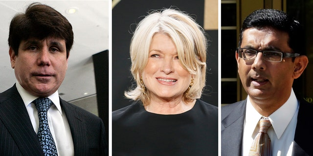 President Trump on Thursday pardoned conservative filmmaker Dinesh D'Souza, right. The president said later in the day he would consider pardoning or commuting the sentences of Martha Stewart, center, and former Illinois Gov. Rod Blagojevich, left.