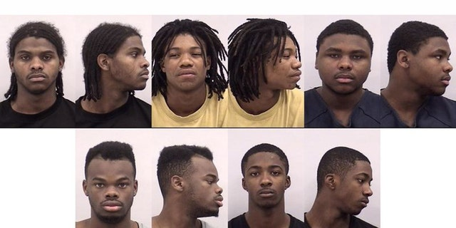 From left to right in top row, Tyron Williams, Clarence Williams and Jacolby Williams, and left to right in bottom row, James Williams and Tommy Williams were all accused of gang-raping a 13-year-old girl in December 2016.