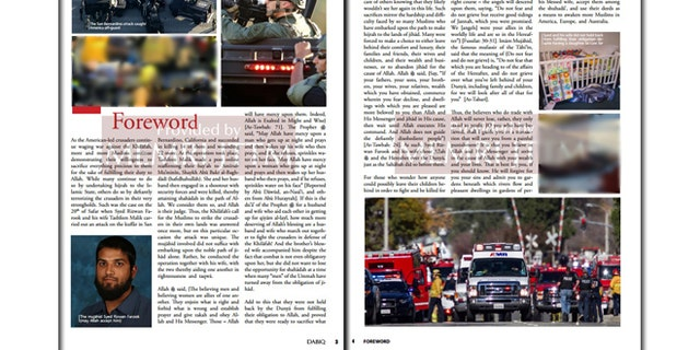 In the forward of the issue, ISIS praises the December terror attack in San Bernadino, Calif.