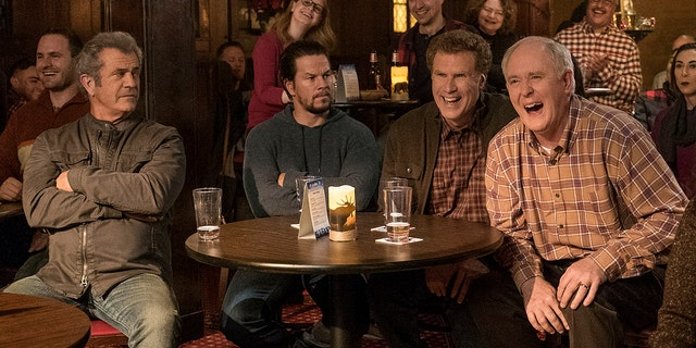 """This image released by Paramount Pictures shows Mel Gibson, from left, Mark Wahlberg, Will Ferrell and John Lithgow in """"Daddy's Home 2."""""""