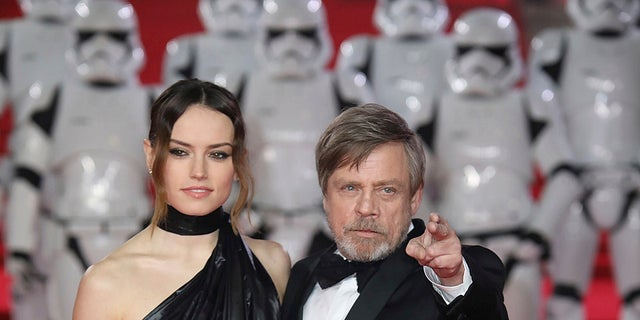 """""""Star Wars: The Last Jedi"""" actors Daisy Ridley and Mark Hamill, who is reprising the iconic role of Luke Skywalker from the original """"Star Wars"""" trilogy."""