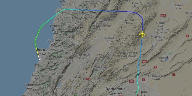 One route passed over northern Lebanon after a layover in Damascus.