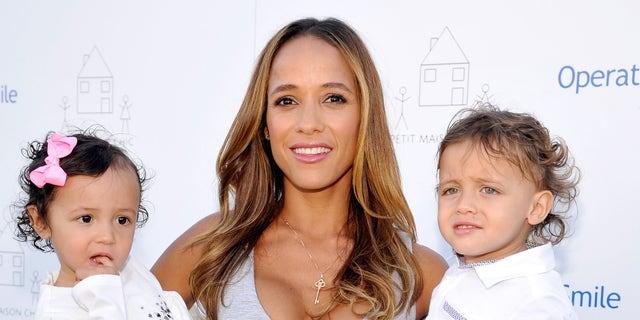 Dania Ramirez and daughter Gaia and son John on November 21, 2015 in Beverly Hills, California.