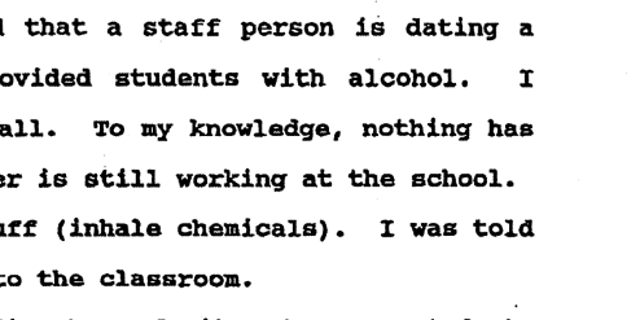 One former counselor, John Allery, said he reported another staff member for dating a student and providing alcohol to other students, yet no actions were taken.